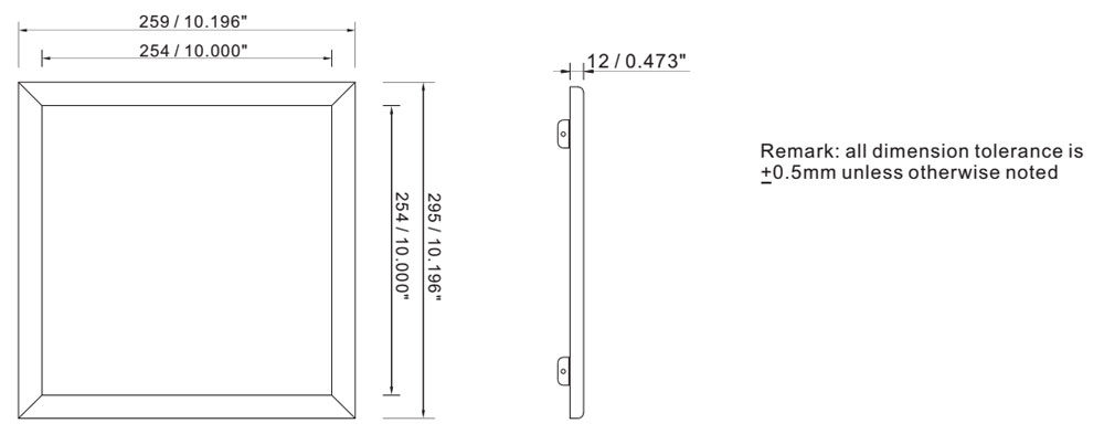 1x1 18w CE approved led panel lamp dimension layout