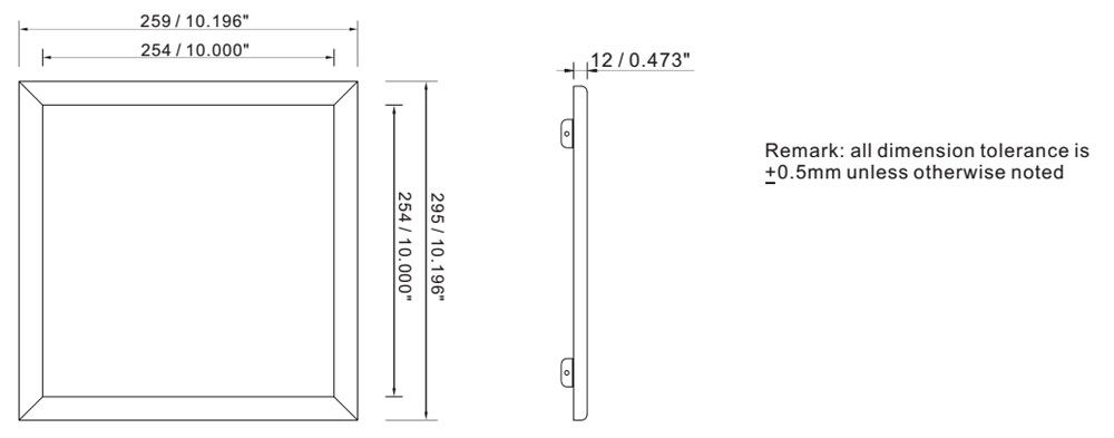 CE certified 24w 1x1 led light panel dimension layout