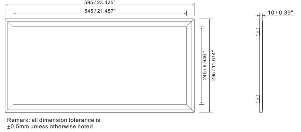 IP64 110 lm/w 300x600 led panel 27W dimension layout