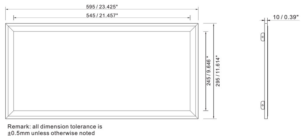 IP64 1x2 led panel light 36w dimension layout
