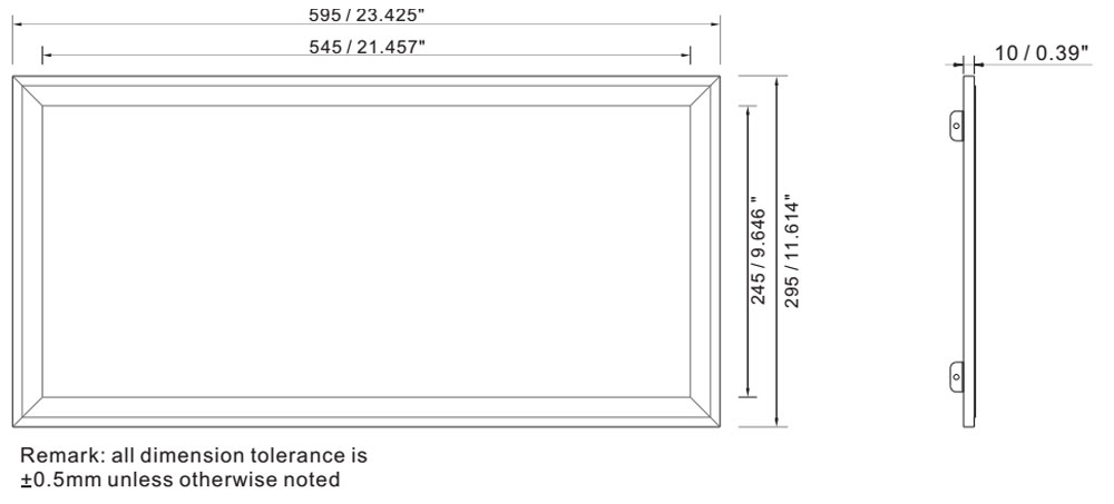 IP64 led panel light 300 x 600 18W dimension layout