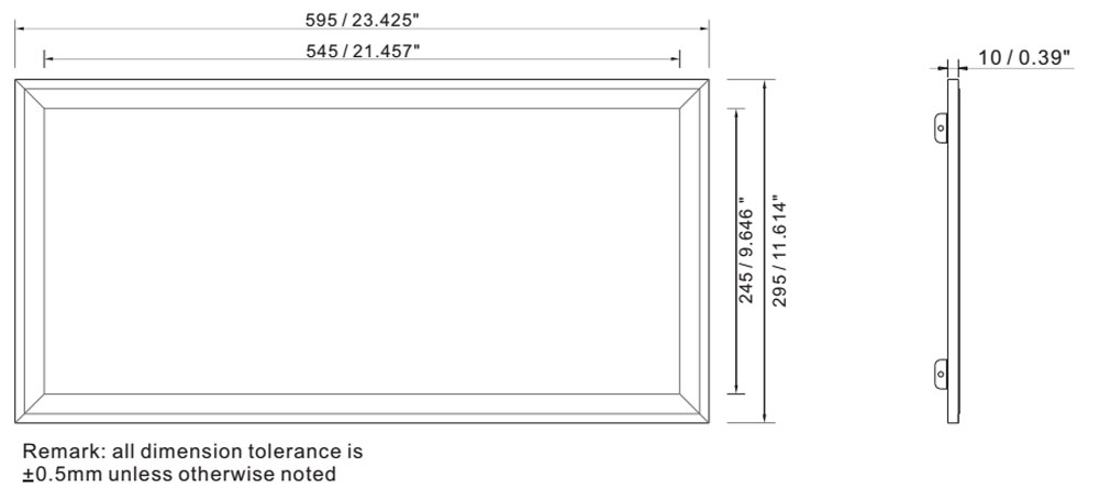 IP64 led panel light 30x60 cm 24w dimension layout