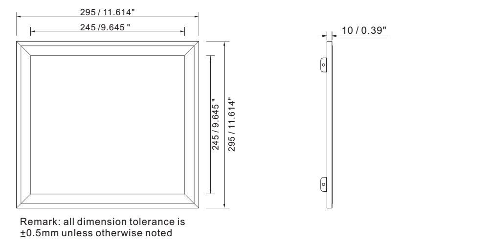 Outdoor led panel light 36w IP64 dimension layout