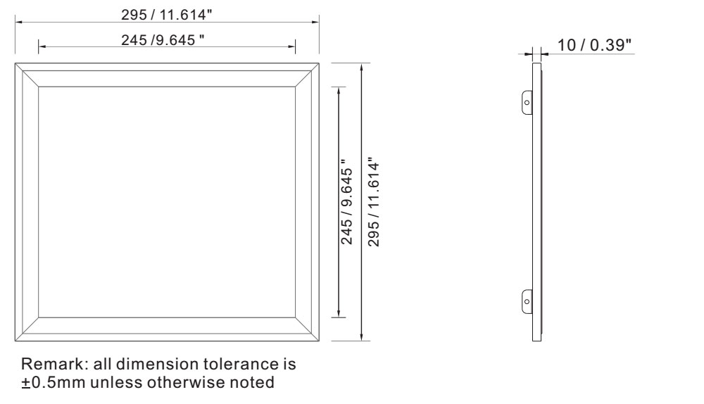 Super bright ceiling light panel 12W IP64 dimension layout