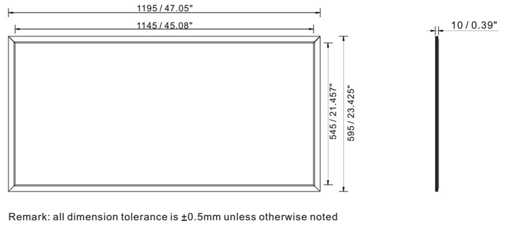 2 x 4 72W UGR led light panel online dimension layout