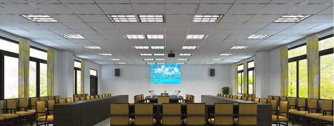 LED grille lights for school meeting room illuminating