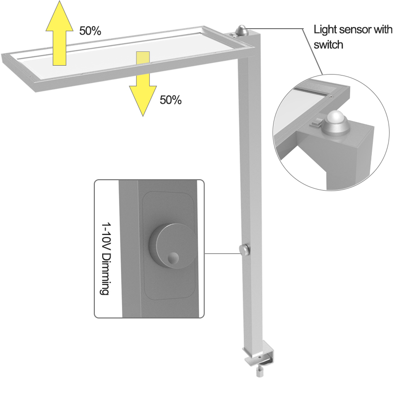 Modern office fixed desktop led light sensing standing desk lamp with 0-10v dimming